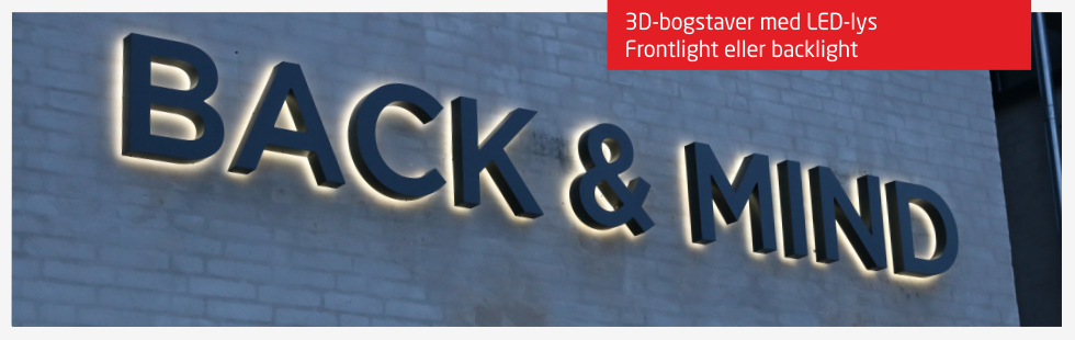 Bogstaver med LED-lys